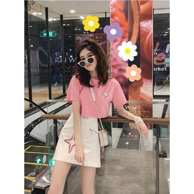 夏季2019新款粉色少女套装俏皮时尚T恤短款洋气减龄半身裙两件套