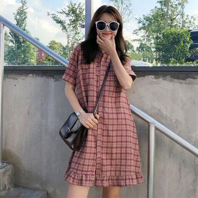 大码女装200斤夏季新款韩版宽松中长款衬衫裙显瘦格子短袖连衣裙