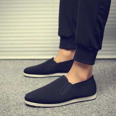 春季帆布鞋老北京布鞋工作鞋男士中老年父亲鞋一脚蹬防滑舒适耐磨