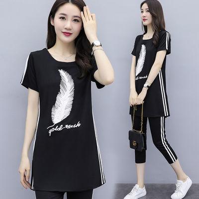 大码女装短袖印花时尚套装女200斤胖妹妹韩版T恤裤子洋气两件套