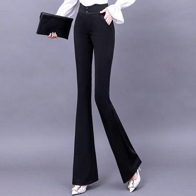 夏季薄款华哥弟情高腰弹力喇叭裤女士修身显瘦微喇裤黑色加长裤子