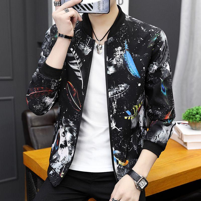 春秋季青少年花夹克男士修身韩版潮流花色外套褂子学生男棒球衣服