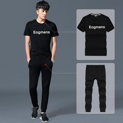 2018男装新款夏季短袖套装青少年休闲运动套装