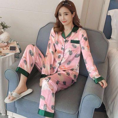 睡衣女春秋季冰丝长袖甜美可爱韩版清新时尚宽松两件套丝绸家居服