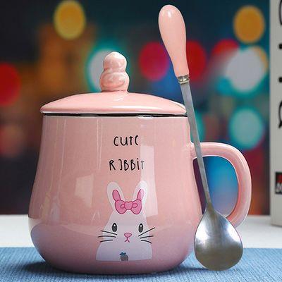 简约杯子陶瓷水杯女可爱动物马克杯情侣学生杯带盖勺咖啡杯早餐杯