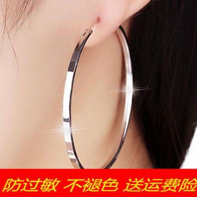 925纯银针圆圈耳环女 韩国气质欧美时尚圆形耳圈银饰圆环大圈耳坠