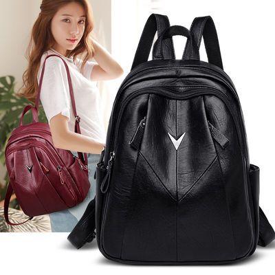 双肩包女韩版潮2020新款网红百搭软皮大容量时尚书包背包女士包包