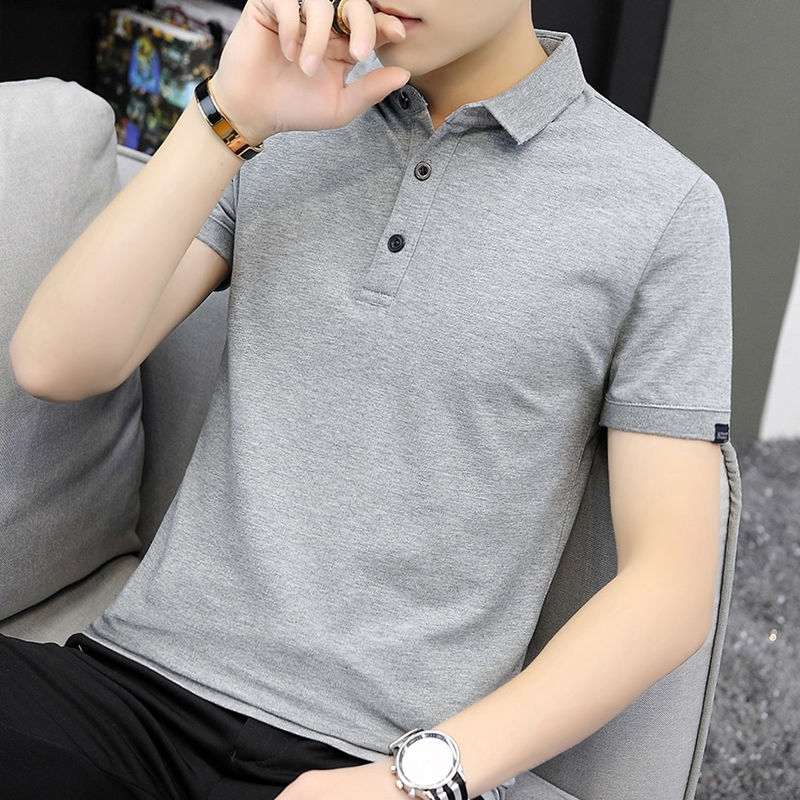 Men's Short Sleeve T-shirt Trend Summer Solid Gray Polo Shirt Simple Slim Half Sleeve Upper Garment Men's Clothing