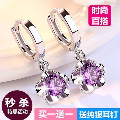 韩版梅花紫水晶925纯银色耳环长款少女心耳坠耳圈防过敏学生耳饰