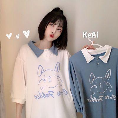 新款polo领短袖T恤女学生韩版宽松可爱卡通纽扣翻领五分袖上衣夏