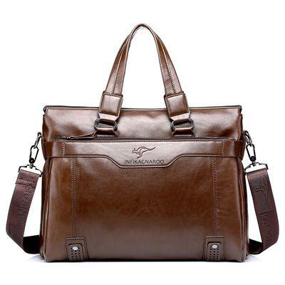 袋鼠男包真皮包男士手提包横款公文包单肩包斜挎包商务休闲牛皮包