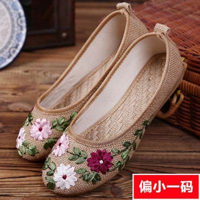 春夏季女绣花鞋老北京布鞋女鞋民族风鞋奶奶中老年妈妈平底单鞋子