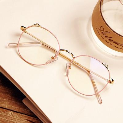 网红同款近视眼镜女复古眼镜框架文艺平光镜圆框眼镜防辐射近视镜