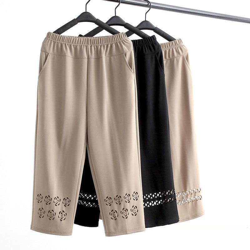 热卖新款妈妈裤子夏季薄款七分裤大码中老年女裤夏装老年人宽松纯