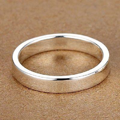 4MM【刻字定制】99纯银男士戒指女士情侣对戒 光圈 单身小指尾戒