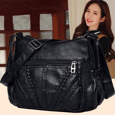 包包2020新款软皮小方包女斜挎包中年单肩包妈妈包水洗皮百搭女包