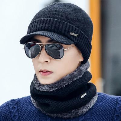 爸爸毛线帽子男加绒加厚秋冬季针织帽保暖套头帽骑车防寒一体帽子