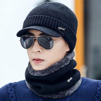 帽子男士冬季毛线帽加厚针织潮韩版套头帽加绒保暖冬天帽青年棉帽