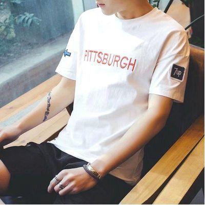 短袖T恤男学生夏季新款男士宽松打底衫韩版青少年修身男装半袖T恤