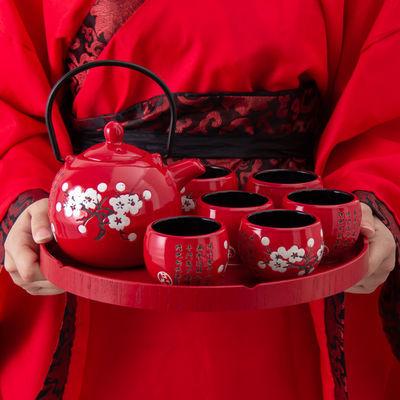 中式红色梅花陶瓷结婚茶具套装嫁妆婚庆礼物伴娘礼品创意敬茶杯壶