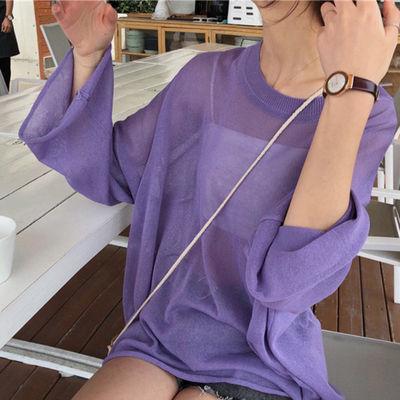 春装新款chic罩衫女薄款针织衫镂空宽松bf纯色慵懒风防晒上衣复古