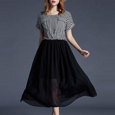 加肥加大码女装短袖连衣裙胖妹妹夏装洋气时尚显瘦条纹拼接雪纺裙