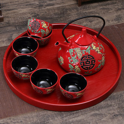 中式陶瓷结婚茶具套装新婚礼物婚庆用品长辈敬茶杯壶