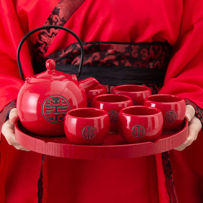 中式红色双喜陶瓷敬茶杯壶结婚茶具套装婚庆送礼用品新婚礼物礼品