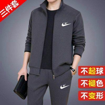 三件套运动套装男春秋季中老年运动服男装休闲单件套装大码爸爸装