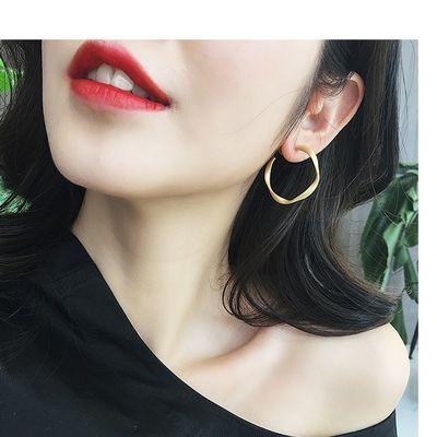 时尚大圈耳环女925银针钮圈耳坠韩版个性耳圈气质简约网红款耳饰