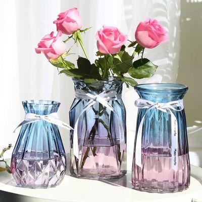 创意玻璃花瓶透明圆形彩色大号水培植物绿萝富贵竹百合玫瑰插花瓶