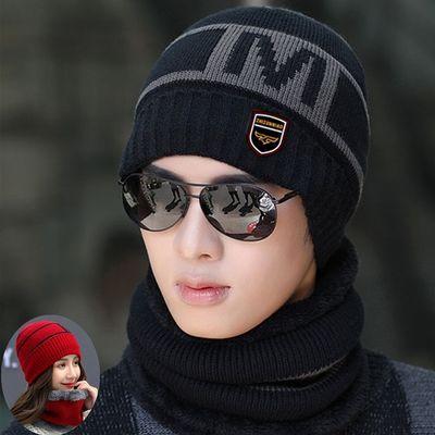 帽子男士冬季韩版潮加绒加厚针织套头帽冬天骑行防寒护耳毛线围脖