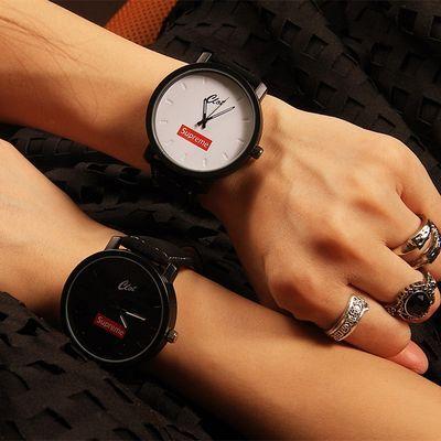 Supreme欧美街头潮牌简约韩版情侣黑白对表学生男女陈冠希手表