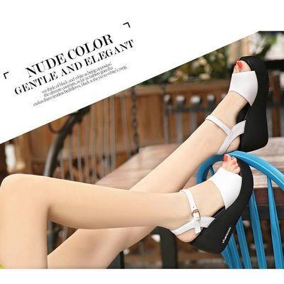 新款一字扣凉鞋女夏防水台松糕厚底坡跟防滑高跟女士皮鱼嘴凉拖鞋