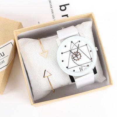简约韩版时尚潮流学生情侣手表一对价皮带女表白色手表男黑色
