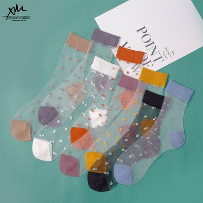 2-6双日系中筒袜子春夏薄款复古波点卡丝短袜女 透明玻璃水晶丝袜的宝贝主图