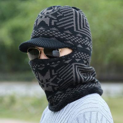 冬季男士帽子韩版加绒保暖针织套头帽男冬天户外加厚毛线帽护耳潮