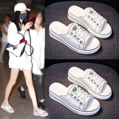 拖鞋2020新款女夏百搭时尚外穿韩版厚底松糕网红学生懒人凉拖鞋潮