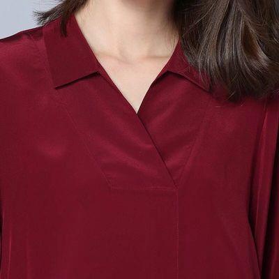 2019夏装新款宽松大码仿真丝女士短袖衬衫时尚蝙蝠袖桑蚕丝上衣女