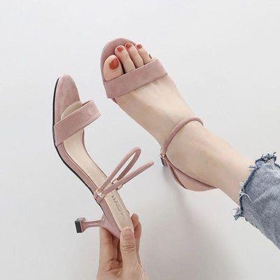 一鞋两穿一字带凉鞋女夏高跟细跟2020新款百搭凉拖鞋外穿中跟5cm