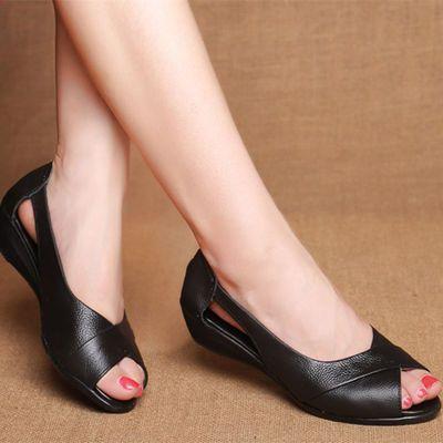 【头层牛皮】鱼嘴鞋坡跟妈妈凉鞋女真皮大码夏季新款凉鞋女平底