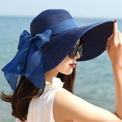 帽子女夏天海滩海边出游遮脸韩版防晒大沿夏季太阳遮阳帽草帽女