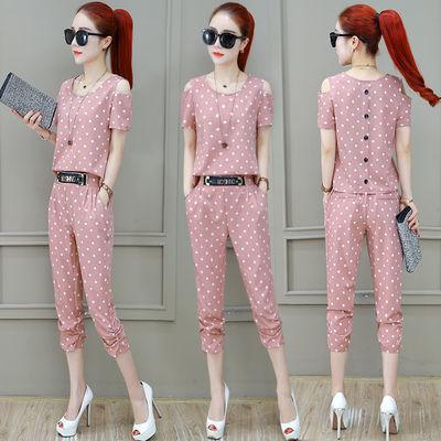 名媛时尚气质套装女夏2020新款韩版格子洋气休闲短袖七分裤两件套
