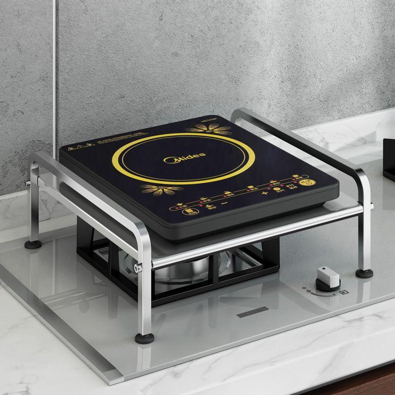 电磁炉架子厨房置物架不锈钢燃气煤气灶台支架电饭煲电饼铛收纳架