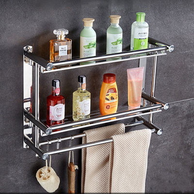 居家家免打孔浴室置物架卫生间洗漱架壁挂卫浴架子化妆品收纳架