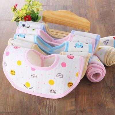 婴儿口水巾宝宝三角巾纯棉层按扣防水新生儿围嘴兜儿童围巾春秋