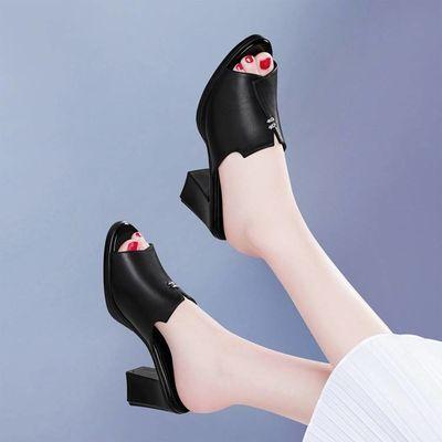 拖鞋女夏季2019新款时尚外穿粗跟中跟百搭鱼嘴凉鞋女士高跟凉拖鞋【3月18日发完】