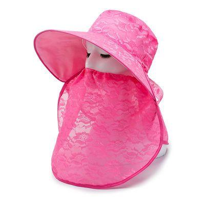 夏天女士帽子时尚护脸披肩一体太阳帽韩版蕾丝大沿帽百搭渔夫帽