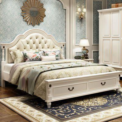 美式床实木床1.8米双人床现代简约成人公主轻奢床主卧婚床欧式床