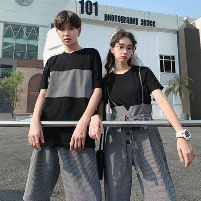 茵茵情侣装夏装2020小众设计时尚韩版连衣裙INS拼接女裙装短袖T恤